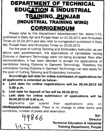 Change in posts (Directorate of Technical Education and Industrial Training Punjab)