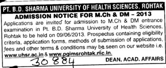MCh and DM (Pt BD Sharma University of Health Sciences (BDSUHS))