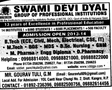 BTech, MTech and Engg Diploma (Swami Devi Dyal Group of Professional Institutes)