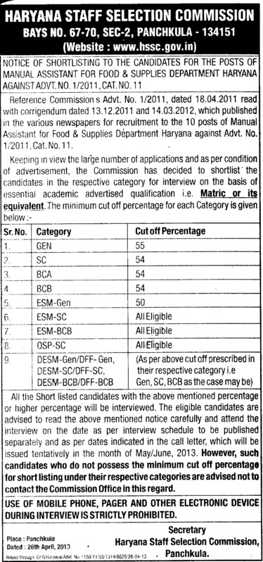 Mannual Asstt (Haryana Staff Selection Commission (HSSC))