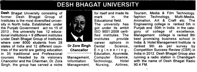Message of Chancellor Dr Zora Singh (Desh Bhagat University)