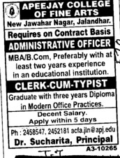 Administrative Officer and Clerk cum typist (Apeejay College of Fine Arts)