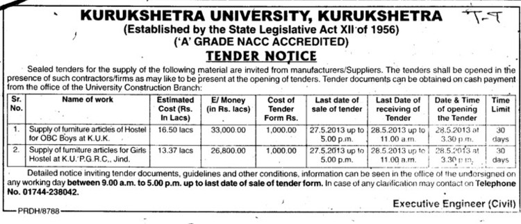 Supply of Furniture (Kurukshetra University)