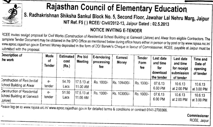 Const of Residential Building (Rajasthan Council of Elementary Education)