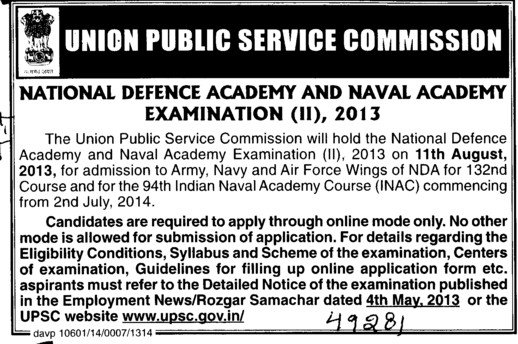 National Defence Academy and Naval Academy (Union Public Service Commission (UPSC))