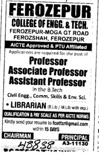 Professor and Librarian (Ferozepur College of Engineering and Technology)