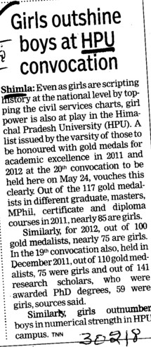 Girls outshine boys at HPU Convocation (Himachal Pradesh University)