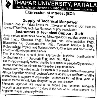 Supply of Technical Paper (Thapar University)