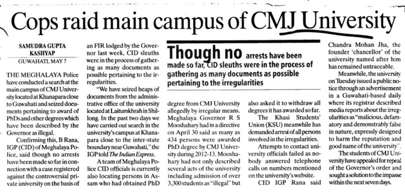 Cops raid man campus (Chander Mohan Jha (CMJ) University)