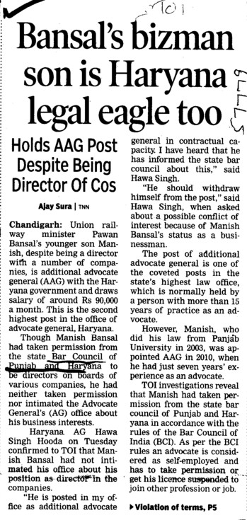 Bansals bizman son is Haryana legal eagle too (Bar Council of Punjab and Haryana)
