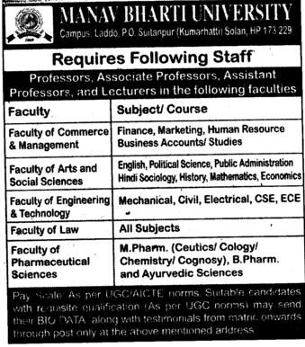 Asstt Professor and Lecturers (Manav Bharti University (MBU))