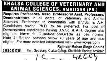 Demonstrators and Professor (Khalsa College of Veterinary and Animal Sciences)