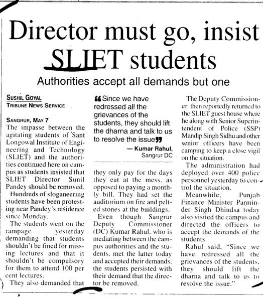 Director must go, insist SLIET Students (Sant Longowal Institute of Engineering and Technology SLIET)