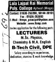 Lecturer for MSc Physics (Lala Lajpat Rai Memorial Polytechnic College)