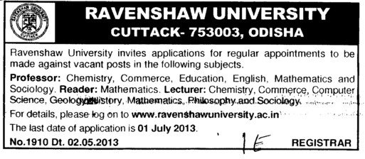Professor, Reader and Lecturer (Ravenshaw University)