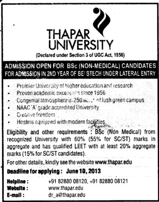 BSc  Course (Thapar Institute of Engineering and Technology University)