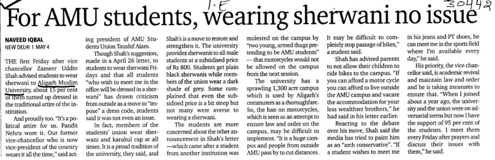 Wearing Sherwani no Issue (Aligarh Muslim University (AMU))