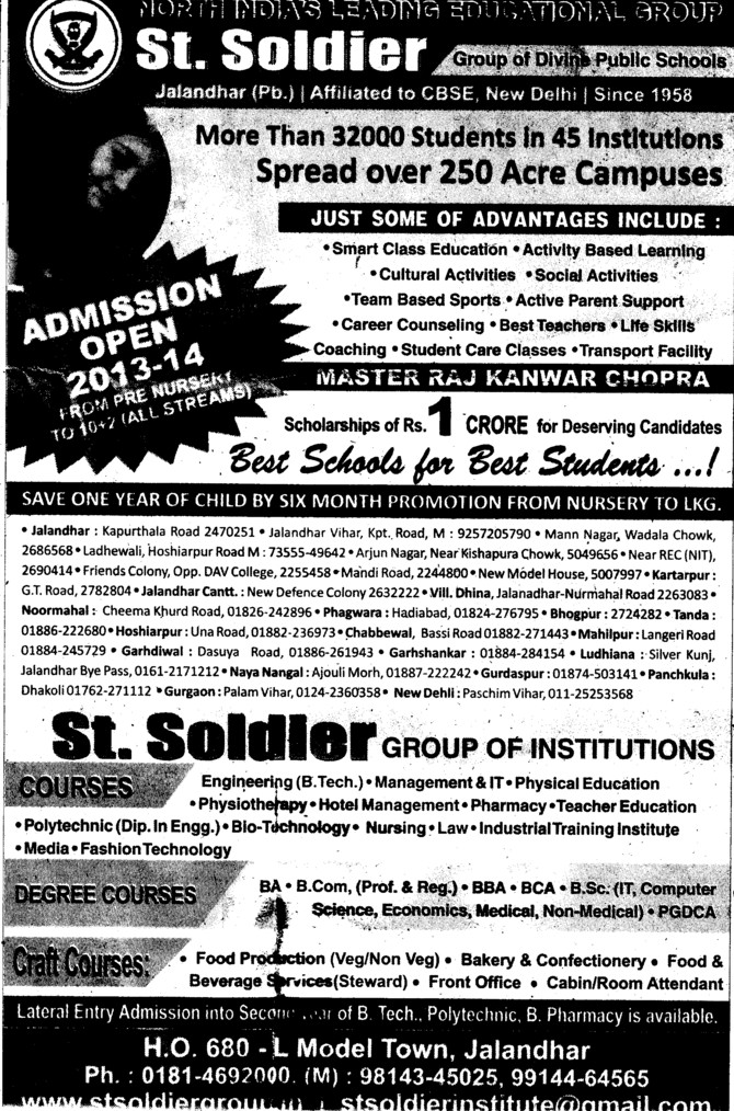 BTech and Physiotherapy courses (St Soldier Group)