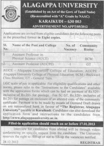 Asstt Professor in Physical Science (Alagappa University)