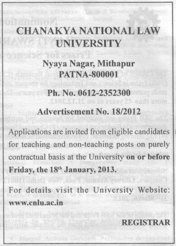 Contract basis faculty required (Chanakya National Law University (CNLU))