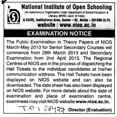 Examination Notice for Senior Secondary Courses (National Institute of Open Schooling)