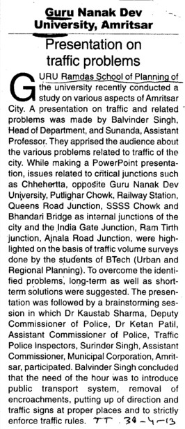 Presentation on traffic problems (Guru Nanak Dev University (GNDU))