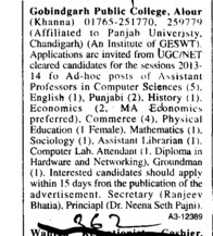 Asstt Professor on adhoc basis (Gobindgarh Public College (GPC))