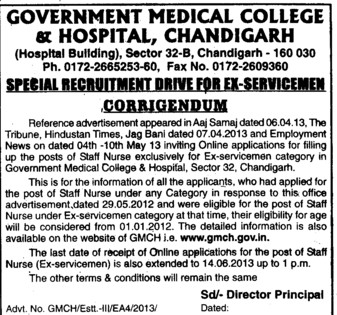 Staff Nurse for Ex serviceman catagory (Government Medical College and Hospital (Sector 32))