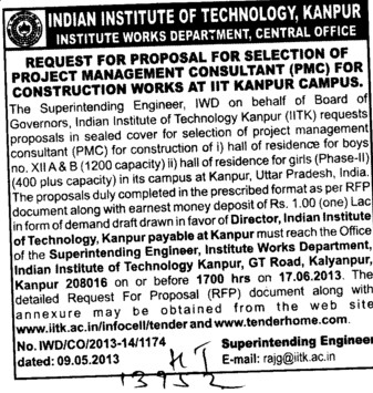 Selection of Project Management Consultant (Indian Institute of Technology (IITK))