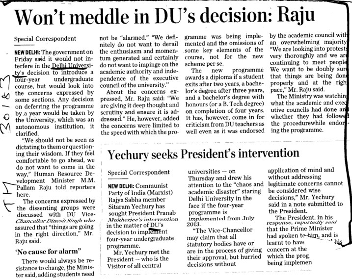 Wont meddle in DUs decision, Raju (Delhi University)