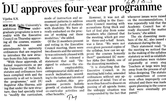 DU approves 4 years Programme (Delhi University)