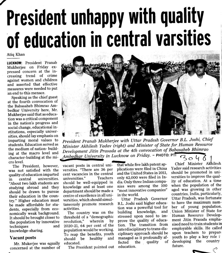 President unhappy with quality of education (Babasaheb Bhimrao Ambedkar University)