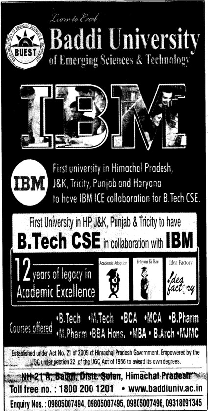 BTech in CSE (Baddi University of Emerging Sciences and Technologies)