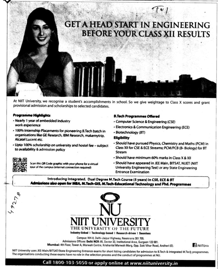 BTech in Biotechnology (NIIT University)