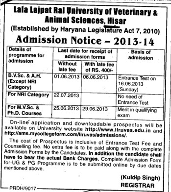 BVSc, MVSc and PhD Courses (Lala Lajpat Rai University of Veterinary and Animal Sciences)
