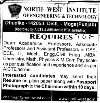 Dean Academics and Asstt Professor (North West Institute of Engineering and Technology NWIET Moga)