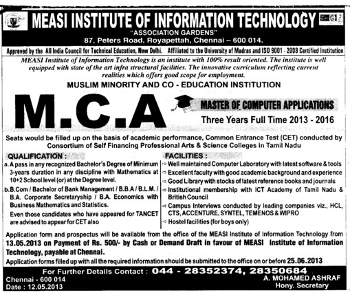 MCA Course (Measi Institute Of Information Technology)