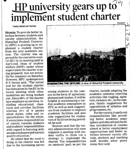 HPU gears upto implement student charter (Himachal Pradesh University)