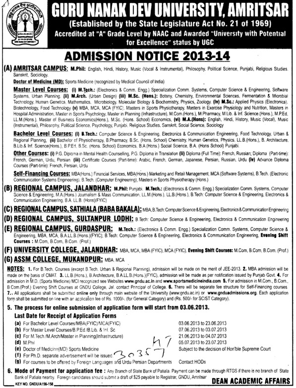 BTech, MSc and M Arch (Guru Nanak Dev University (GNDU))