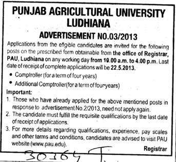 Comptroller and Additional Comptroller (Punjab Agricultural University PAU)