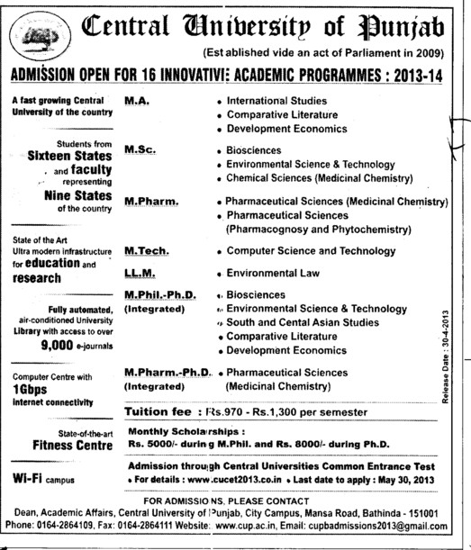 MA, MSc and LLM Courses (Central University of Punjab)
