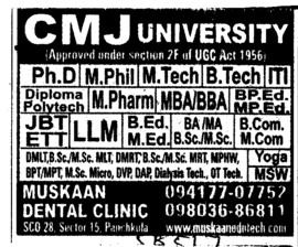 M Phil, MTech and PhD (Chander Mohan Jha (CMJ) University)