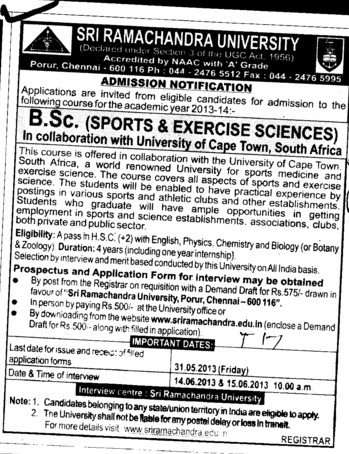 BSc in Sports and Exercise Sciences (SRM University)