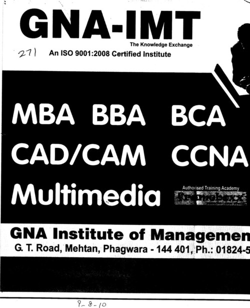 BBA, BCA and MBA (GNA Institute of Management and Technology)