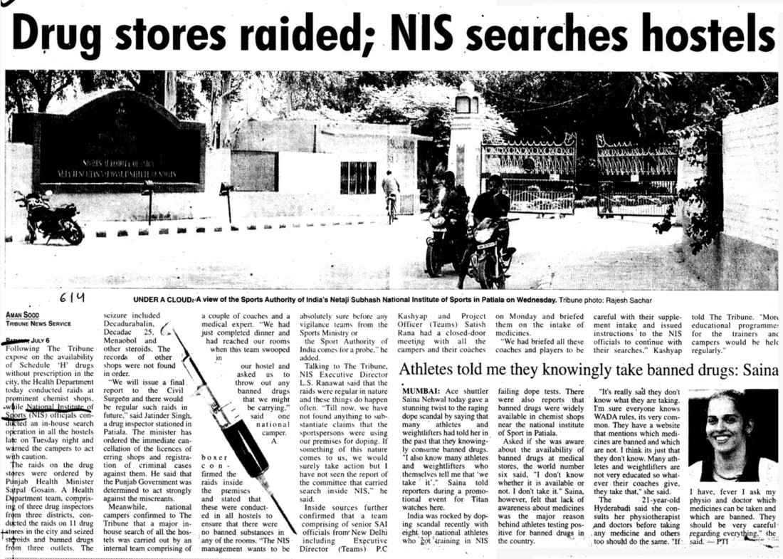 Drug stores raided, NIS searches hostels (Netaji Subhas National Institute of Sports (NIS))