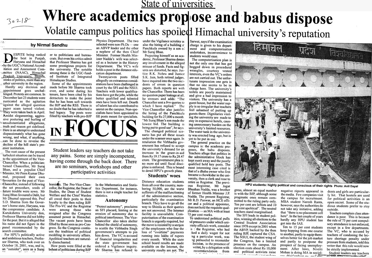 Acedemics propose and babus dispose (Himachal Pradesh University)