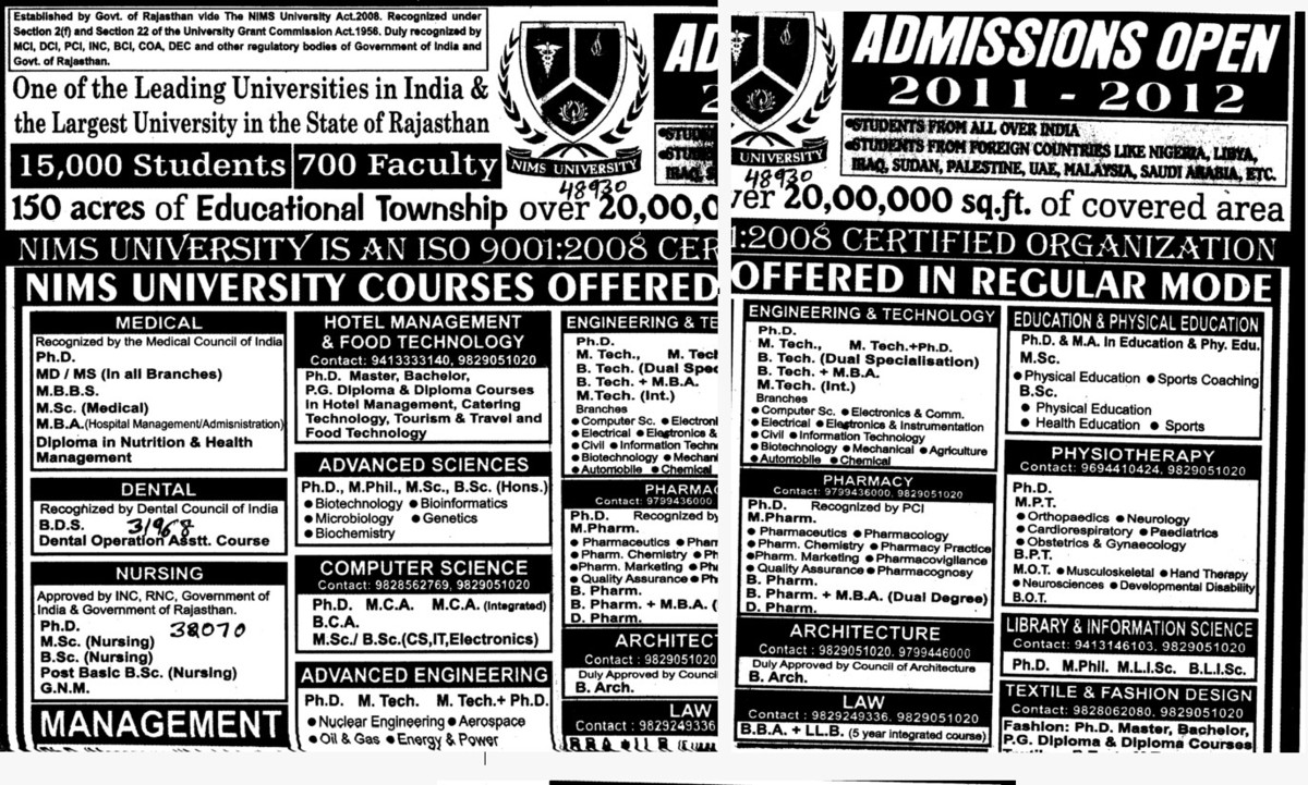 MBBS, MSc and MBA Courses etc (NIMS University)