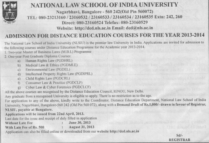 Master in Business Law (National Law School of India University (NLSIU))