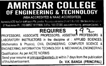 Laboratory Instructor (Amritsar College of Engineering and Technology ACET Manawala)