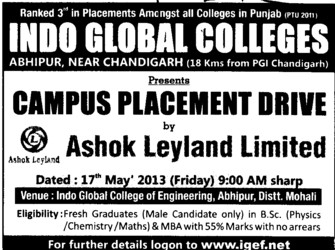 Campus Placement Drive (Indo Global Group of Colleges)